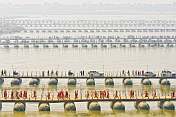 Parallel Lines Of Pontoon Bridges Crossing The Ganges River At Allahabad