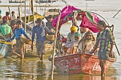 Boat Of Sikh Pilgrims Return From Visiting The Ganges Sangam