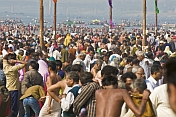 Huge Crowds Struggle To Find Room For Changing After Sacred Dip In The Ganges Yamuna River