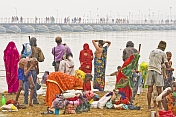 Bathers At Ganges Sangam Watch Pilgrims Cross River On Pontoon Bridge