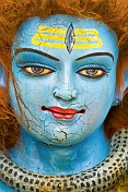 Smiling Blue Faced Statue Of The Hindu God Shiva