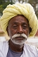 Rajsthani farmer in a light yellow turban.