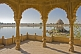 Carved stone lake temples on the Gadi Sagar, once the main water supply for Jaisalmer.