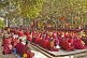 Image of Buddhist monks wait for services to begin at the Mahabodhi Temple.