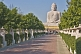 The 20m tall statue of the Buddha is visited by many Buddhist pilgrims.