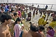 Mass crowds of Hindu pilgrims bathe at Yamuna Sangam on Basant Panchami Snana.