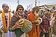 Hindu musicians with tabla and cymbals in Basant Panchami Snana Procession.
