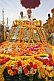 Two Holy Men on roof of flower decorated jeep for Kumbh Mela procession.