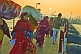 Pilgrims cross Ganges river pontoon bridge at dawn to join Kumbh Mela festival.