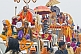 Image of Holy Men wait patiently on vehicle roofs for Hindu procession traffic jam to clear.