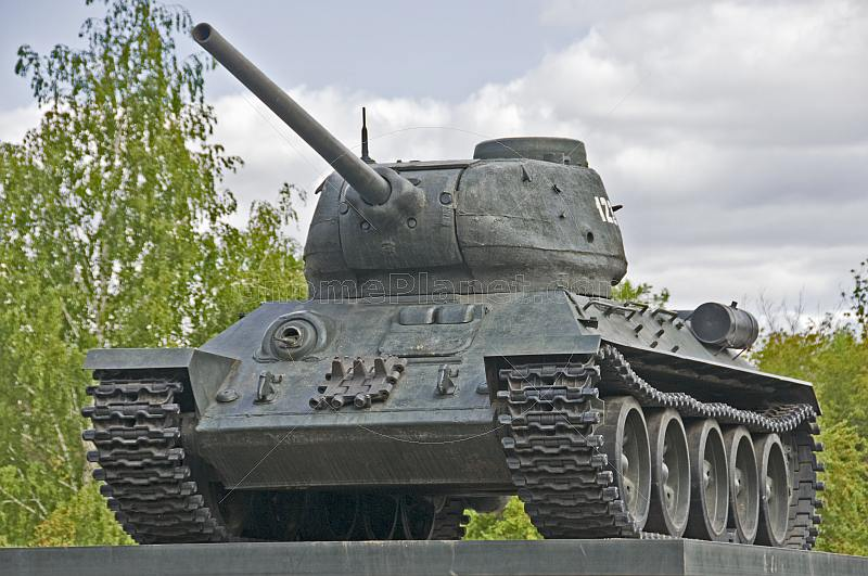 Preserved Soviet T34 tank is a memorial to the WWII against Fascism.
