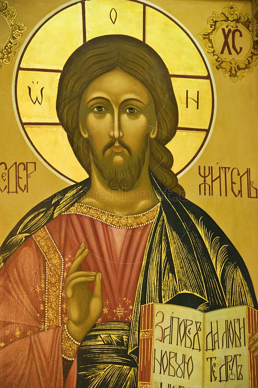 Wall painting of Jesus Christ in Saint Nicholas Cathedral.
