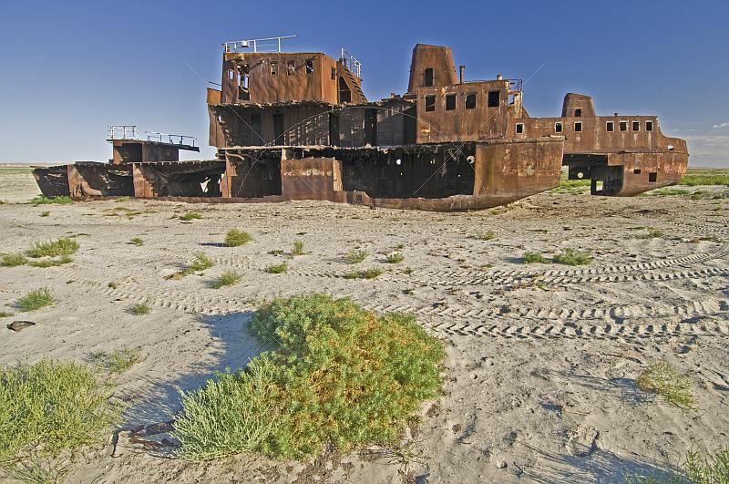 The remains of a ship abandoned in the dried up bed of the Aral Sea, near Aralsk.