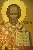 Golden painted icon in Saint Nicholas Cathedral.