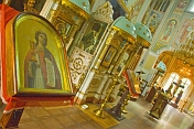 Interior of the Russian orthodox Saint Nicholas Cathedral, on Qabanbay Batyr.