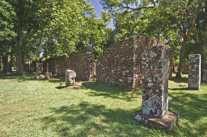 Stone ruins of the Jesuit San Ignacio Mission.