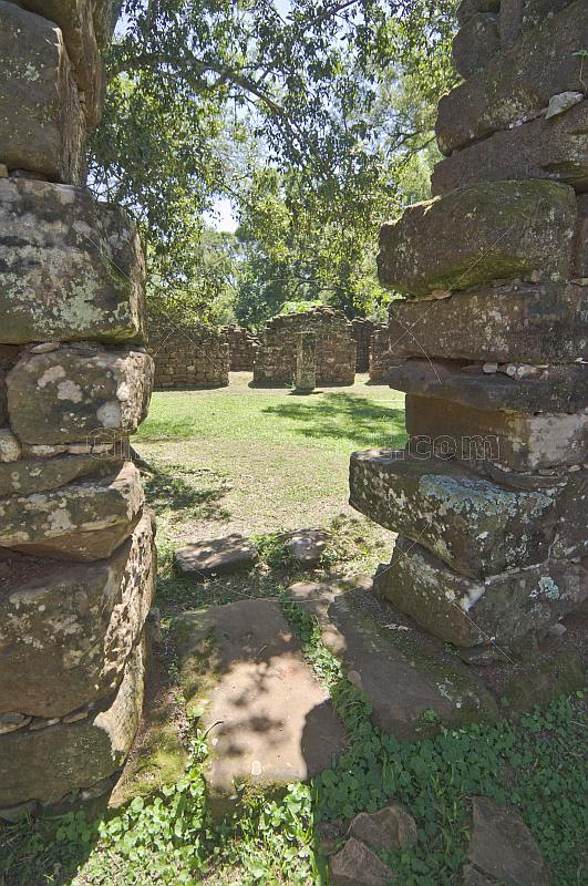 Monks cell and stone ruins of the Jesuit San Ignacio Mission.