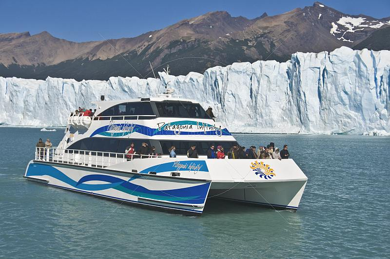Double-hull boat visits the Moreno Glacier in the Parque Nacional Los Glaciares.