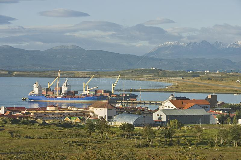 Docks and mountains on the Beagle Channel.