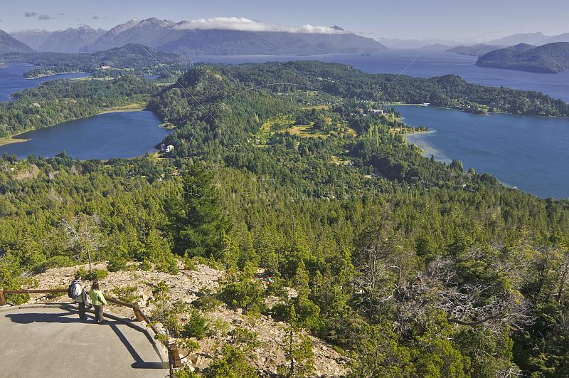 Viewing the El Trebol and Nahuel Huapi Lakes from the Cerro Campanario.