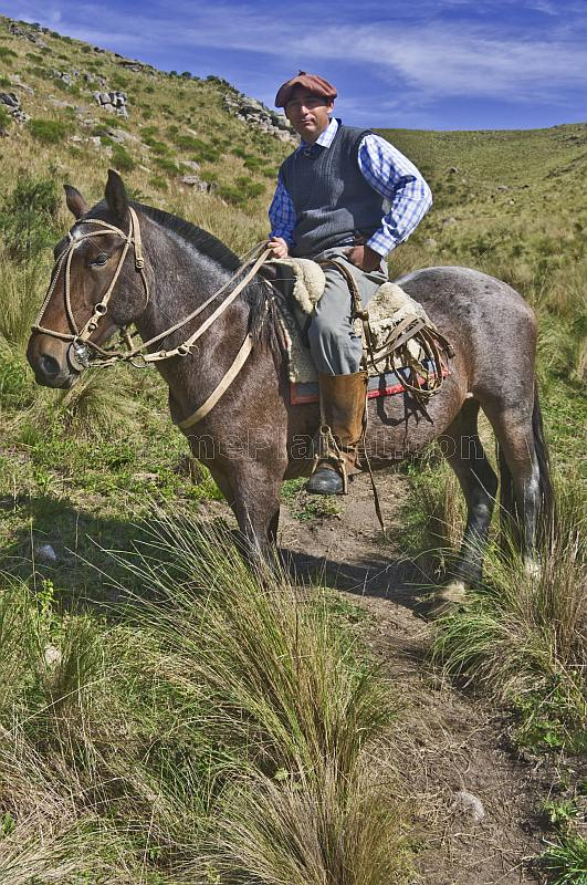 Gaucho horseman sits astride a brown horse at the Estancia Los Potreros.
