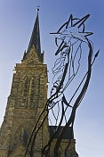 Wire frame statue of Mary and Christ outside the Cathedral Nuestra Sra del Nahuel Huapi.