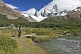 Trekker views the Fitzroy Mountains in the Parque Nacional Los Glaciares.