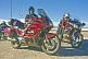 Group of motorcyclists on Honda Goldwing bikes at the Sal de Guayatayoc saltpans.