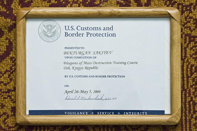 US 'Weapons of Mass Destruction' Certificate for local Kyrgyz Trainee.