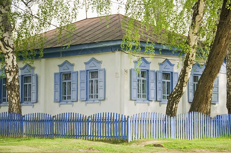 Russian-style painted cottage with picket fence, decorative windows and surrounding Birch trees.