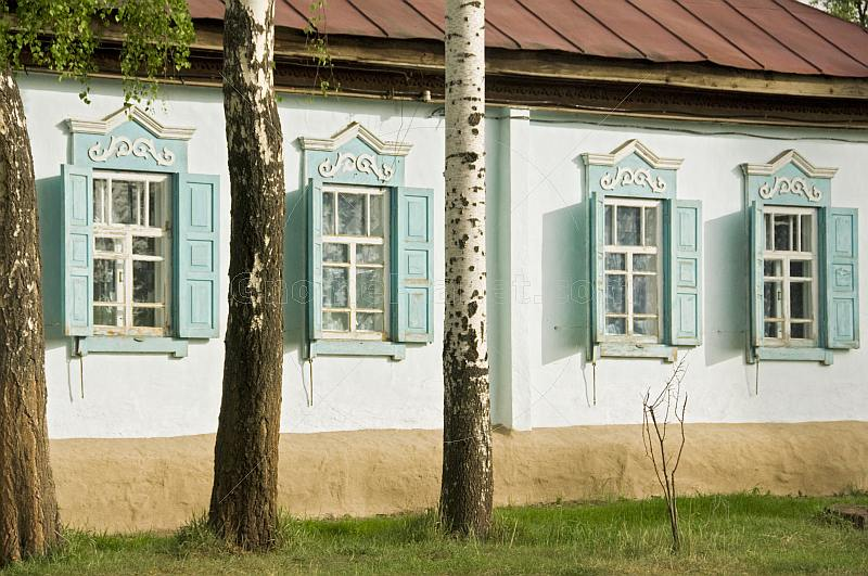 Royalty free stock photograph russian style painted for Cottage style exterior shutters