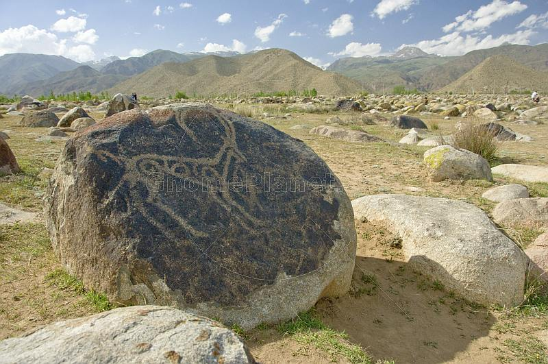 A range of Bronze-age and Saka-Usun period petroglyphs, including this Long Horned Ibex, in the Boulder Valley near Cholpon-Ata.