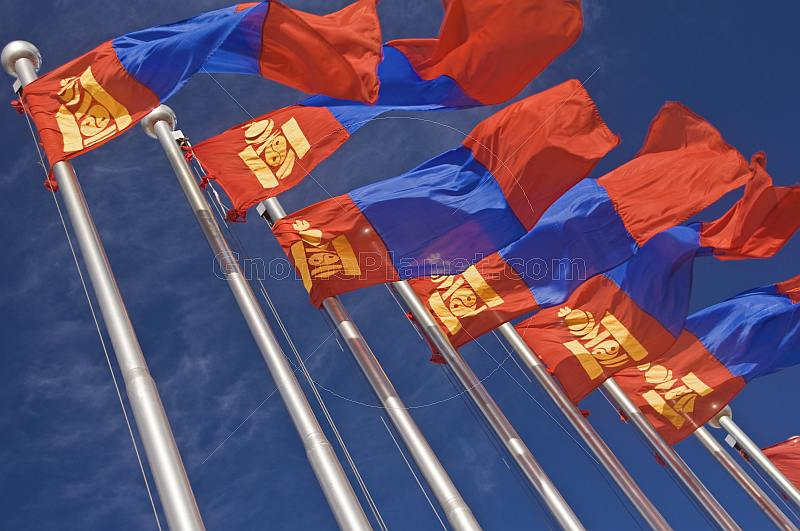 Mongolian flags blow and flutter in the wind.