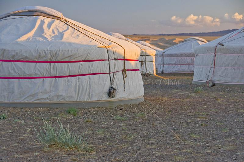 Yurt camp at sunset.