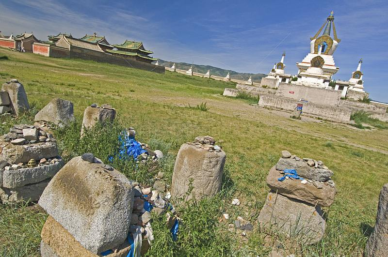 Stupa and ancient ruins at the Erdene Zuu Khiid (Hundred Treasures Monastery).