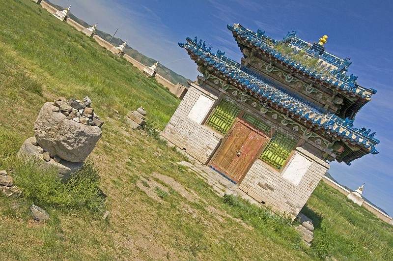 Blue-tiled temple at the Erdene Zuu Khiid (Hundred Treasures Monastery).