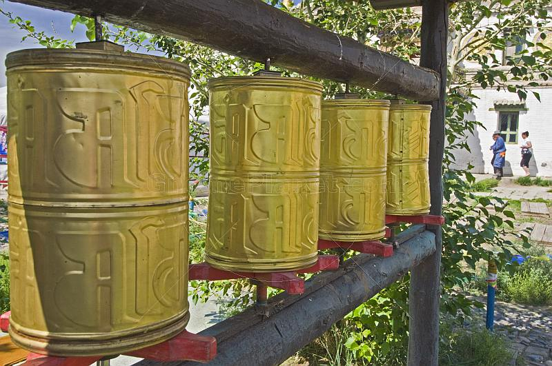 Brass prayer wheels at the Erdene Zuu Khiid (Hundred Treasures Monastery).