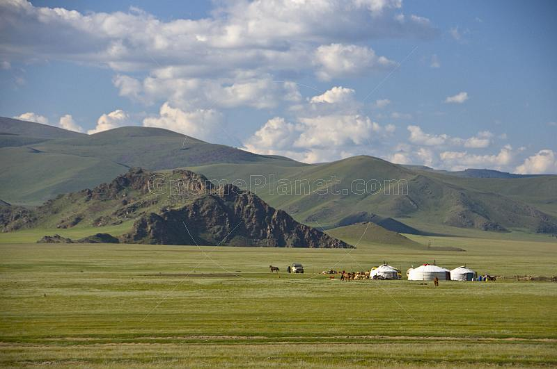 Yurt encampment on the Mongolian plains.