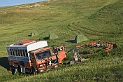 Dragoman Overland truck sets up their campsite.