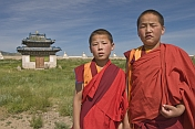 Young Buddhist monks in the compound of the Erdene Zuu Khiid (Hundred Treasures Monastery).
