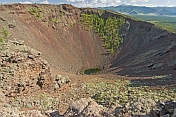 A view into the extinct Khorgo Uul volcano crater.