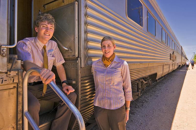 Great Southern Rail carriage attendants on the Indian Pacific long distance train.