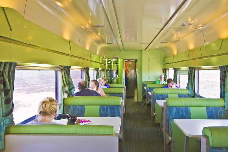 Passengers in the Matilda Cafe buffet car of the Indian Pacific long distance train.