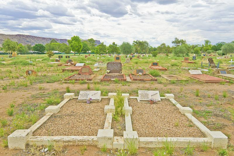 Graves at Alice Springs Memorial Cemetery on Larapinta Drive.