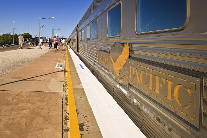 Indian Pacific carriage signboard and platform view at Broken Hill railroad station.