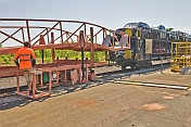 Positioning the off-loading ramp on a Car-Transporter wagon
