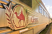 Camel logo and nameboard on Ghan carriage
