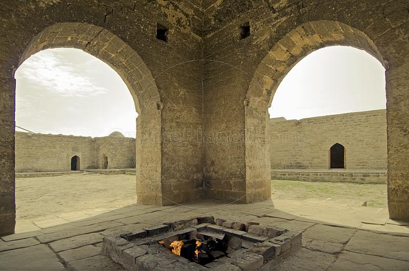 Central fire pit and place of Zoroastrian worship at the Atesgah Fire Temple.