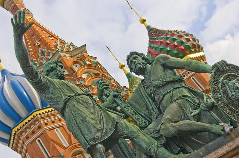 Statues of Dmitry Pozharsky and Kuzma Minin, outside St Basils Cathedral (Pokrovsky Cathedral) in Moscow's Red Square.