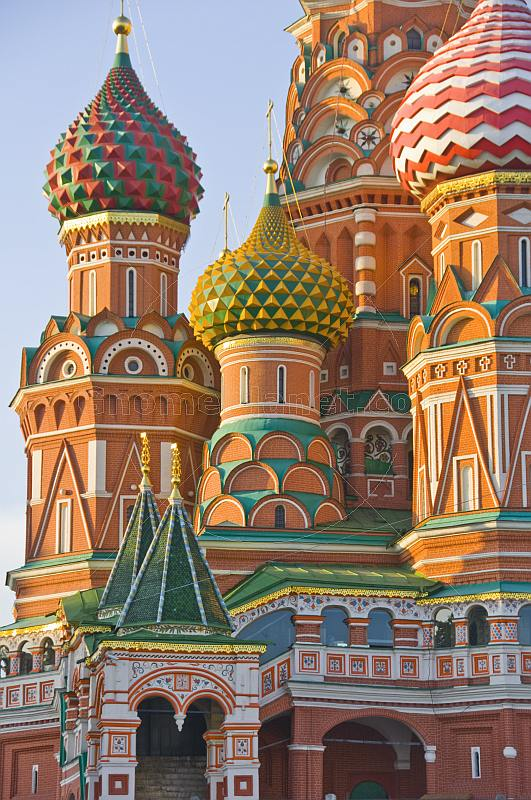 The brightly colored walls and domes of St Basils Cathedral (Pokrovsky Cathedral), in Moscow's Red Square.